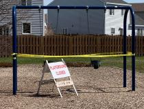 Most playgrounds in the United States were closed due to the COVID-19 pandemic. This is a residential neighborhood park in April Lake in the Hills, Illinois, a Chicago suburb. Photo by Christopher Cundiff.
