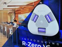 A new type of ceiling mounted UV light designed to constantly sterilize a room while people occupy it, on display at the Healthcare Information Management Systems Society (HIMSS) 2021 meeting this week. The R-Zero Vive uses a low wavelength UV light (222 no) that will not penetrate the skin or eyes, so it can constantly decontaminate a room while it is occupied. This may include a triage room in the emergency department, or a medical imaging room. #HIMSS21