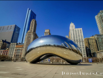 The landmark Chicago bean sculpture in Grant Park in downtown Chicago with no tourists in site, middle of the day in the middle of the week in late March. The city of Chicago called for shelter in place orders and the downtown became a ghost town. The bean and other attractions in the city were all closed to visitors as part of containment efforts. Photo by Tom George Davidson.