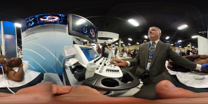 A 3D echo exam using the GE Logiq E95 system at the American Society of #Echocardiography (ASE) 2018. #ASE #ASE2018 #ASE18