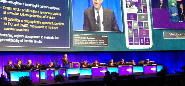 Cardiologist Gregg Stone, M.D., presenting a late-breaking trial at TCT 2016.